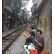 Drink beside railway- Hanoi city tour