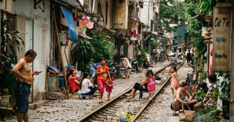 daily life of local people beside railway